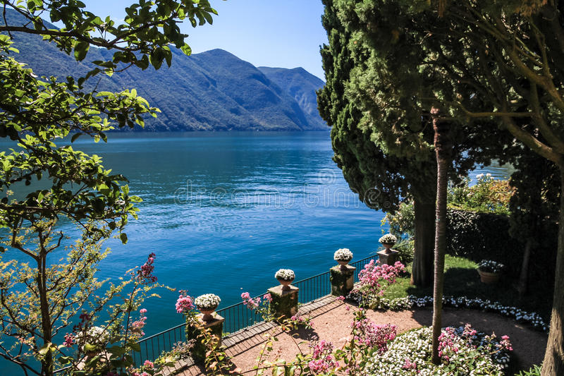 Lake and private garden stock photo