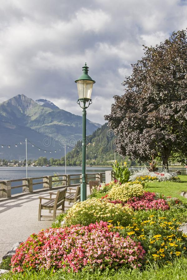 Lake promenade in Zell am See stock photos