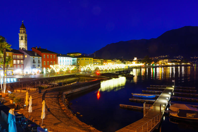 The lake promenade Piazza Mota, Ascona stock photos
