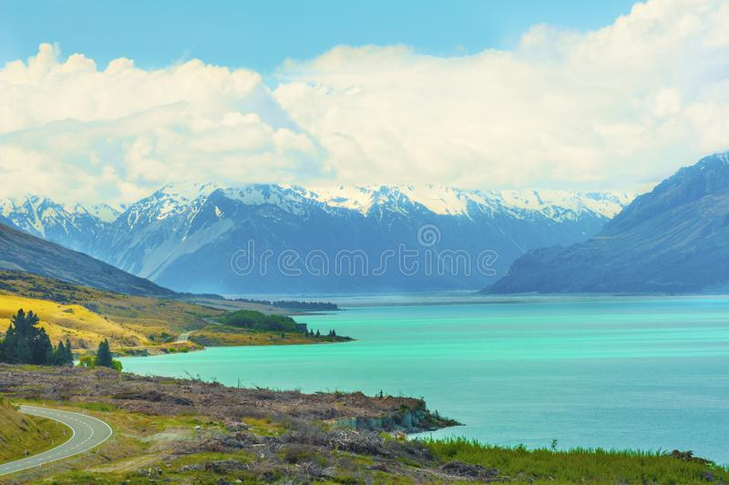 Lake Pukaki in the New Zealand stock images
