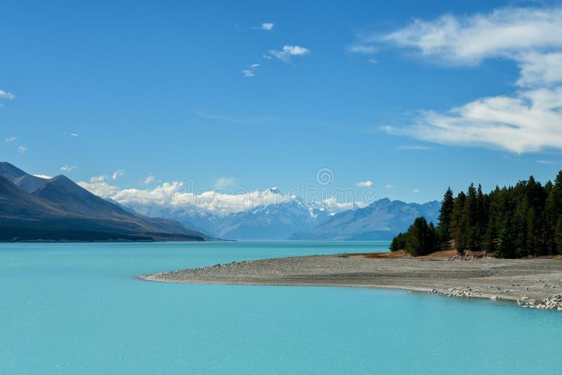 Lake Pukaki and Mount Cook stock image