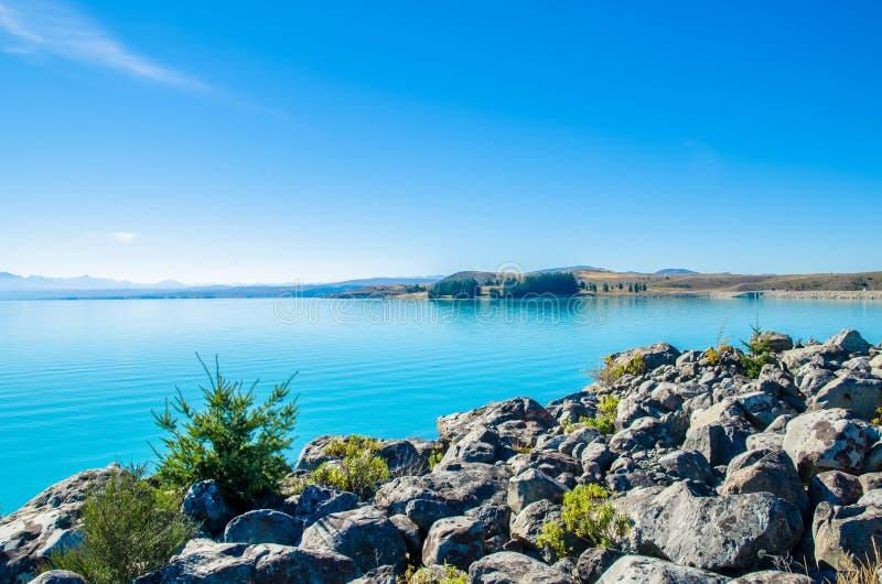 Lake Pukaki in south island New Zealand. royalty free stock photography