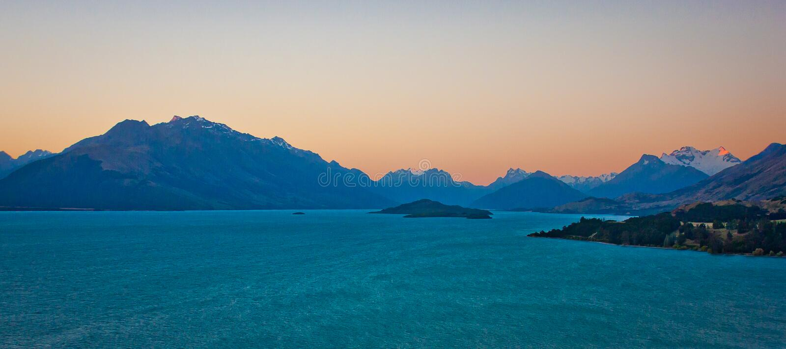 Lake Pukaki at the sunset time, New Zealand. Mt. Cook national park, travel NZ royalty free stock photography