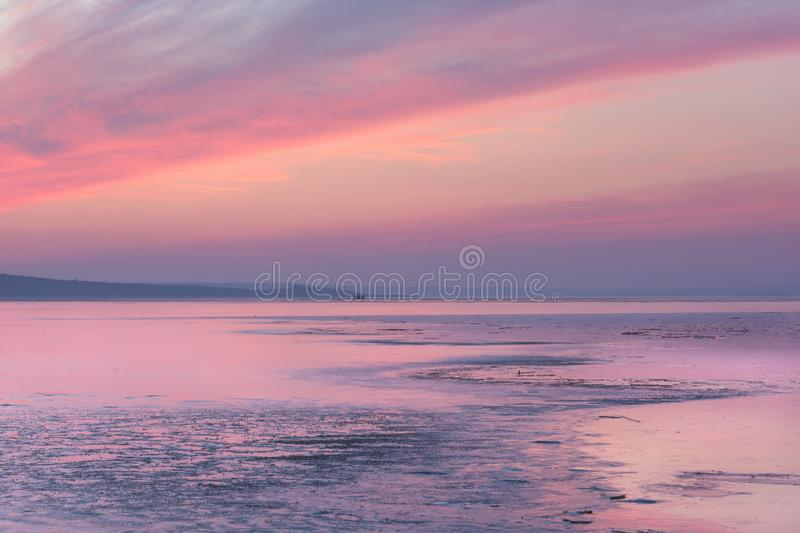 Lake Purple Sunset royalty free stock photography