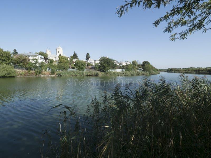 Lake Pustnicu at Pasarea Monastery, Romania stock images