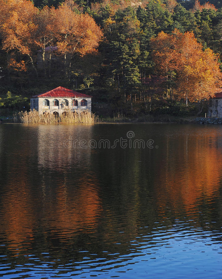 Download Lake reflections in fall stock image. Image of hill, buildings - 18186959