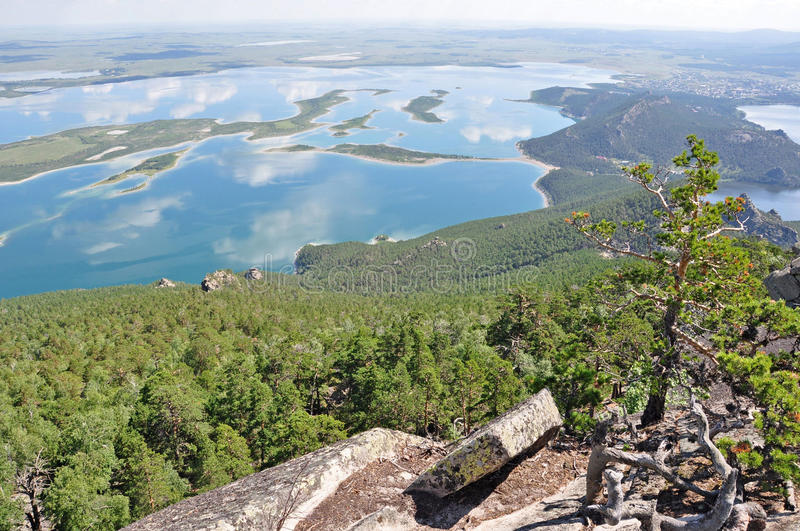 Lake, rocks and forest in the north kazakhstan 2 stock photography