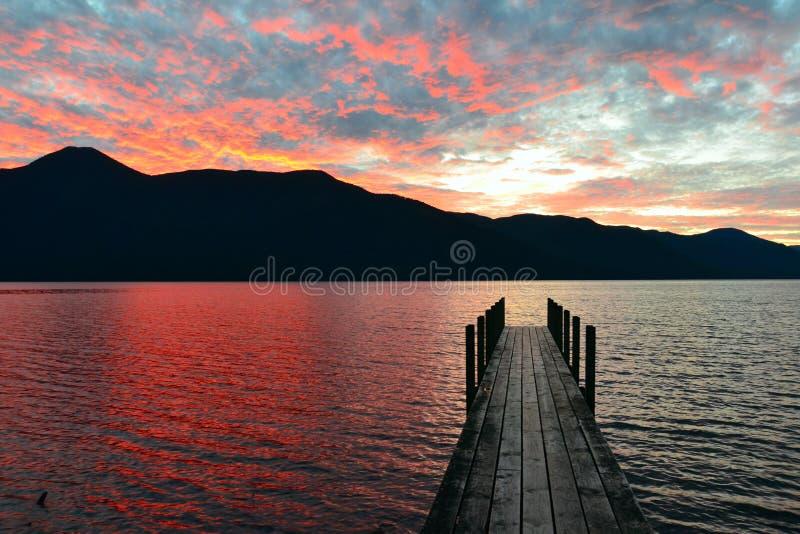 Lake Rotoroa, Nelson Lakes National Park, Tasman, New Zealand. Dusky pier, Lake Rotoroa, Nelson Lakes National Park, Tasman, New Zealand royalty free stock images