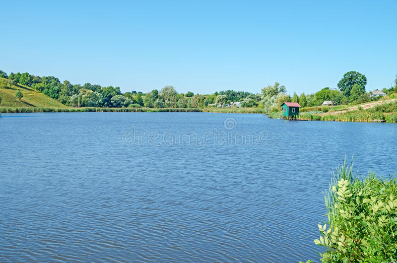 Lake rural. View of the pond in clean rural midday in late August royalty free stock images