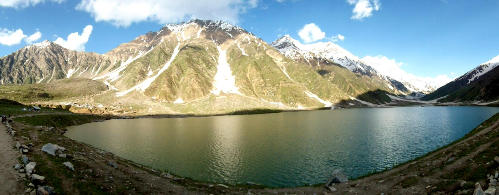 Lake. Saiful Muluk is a mountainous lake located at the northern end of the Kaghan Valley, near the town of Naran. It is in the north east of Mansehra District stock image