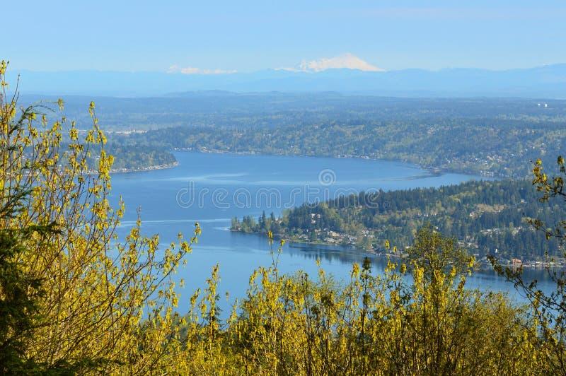 Lake Sammamish and Mount Baker, Washington. A view of Lake Sammamish in suburban Puget Sound looking north toward Mount Baker stock photography