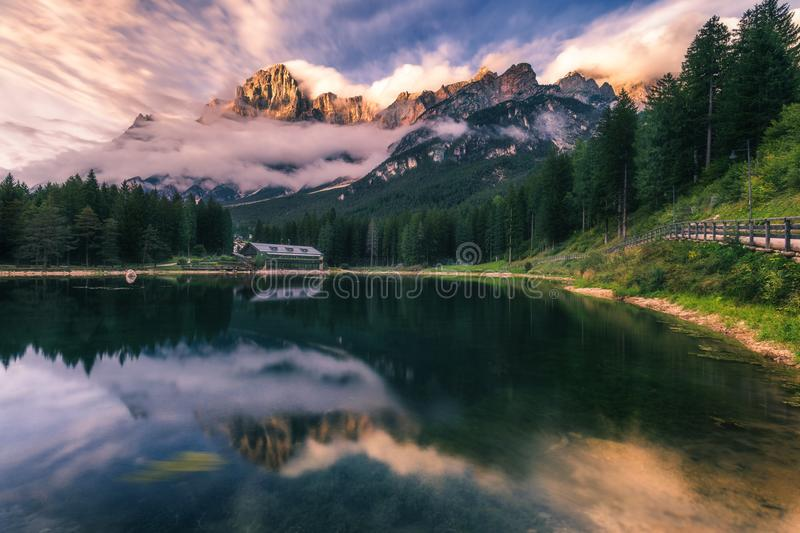 Lake San Vito di Cadore (lake Mosigo) in Boite valley in the domain of Mount Antelao also called King of the Dolomites. Italian D. Olomites Alps Scenery, Italy royalty free stock photography