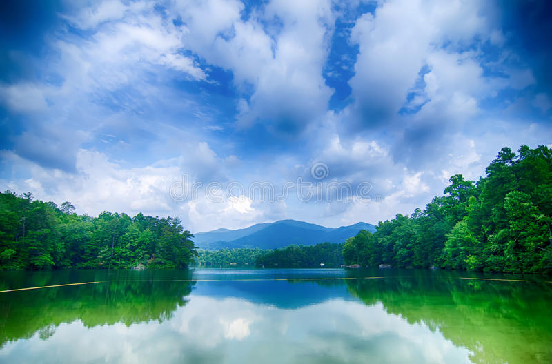 lake santeetlah in great smoky mountains north carolina royalty free stock photo