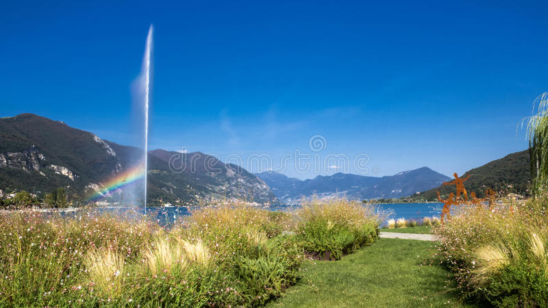 Lake Sarnico. Landscape of the lake, with art installations of gardening stock images