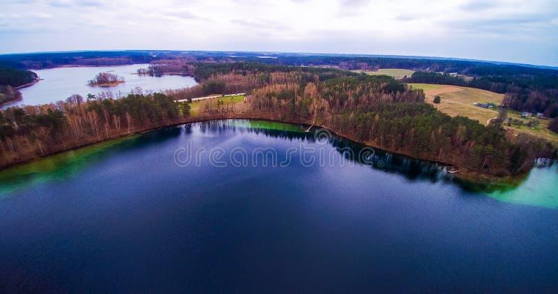 Lake scenery aerial Lithuania stock photos