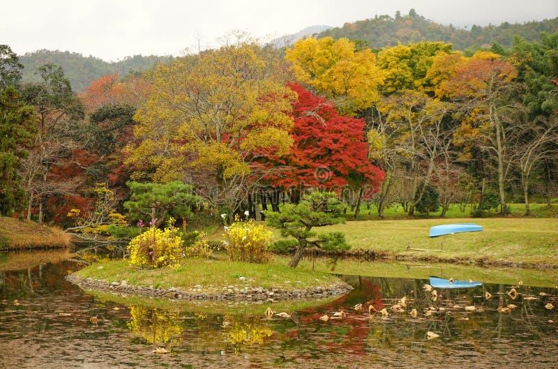 Lake scenery at autumn in Kyoto, Japan. Lake scenery with autumn trees in Kyoto, Japan stock photography