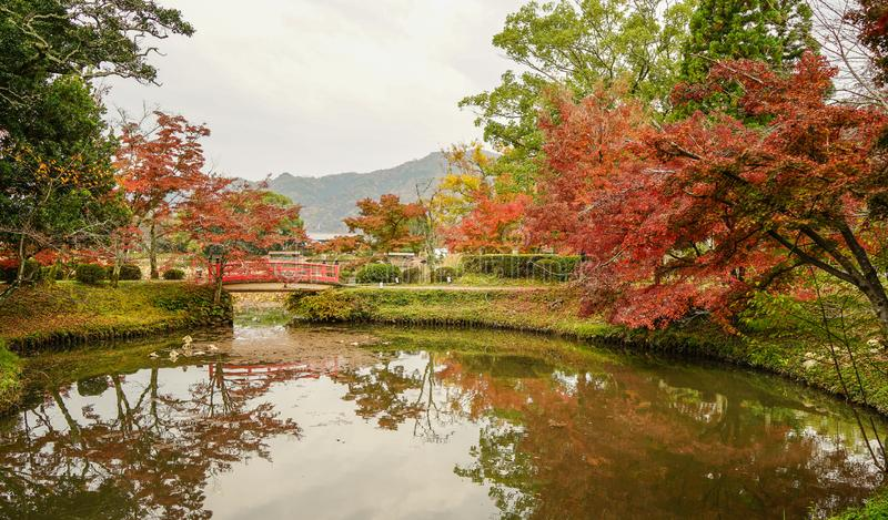 Lake scenery at autumn in Kyoto, Japan. Lake scenery with autumn trees in Kyoto, Japan royalty free stock photography