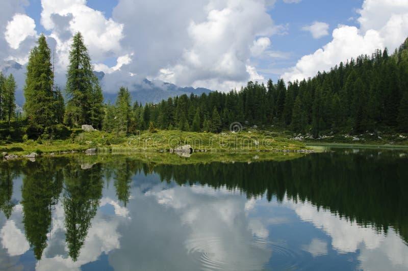 Lake scenery in the Italian Alps royalty free stock photography