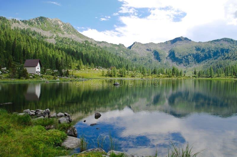 Lake scenery in the Italian Alps stock photography