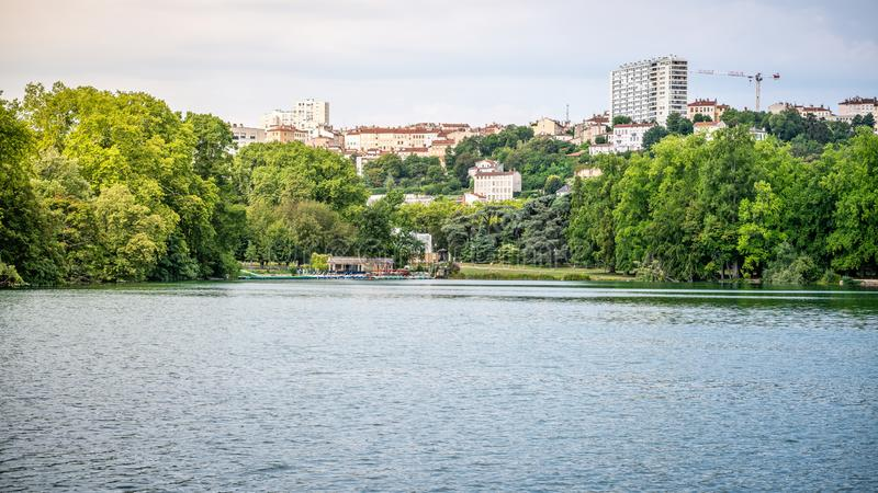 Lake scenery in the Park of the Golden Head aka Parc de la Tete d`or in Lyon France stock photography