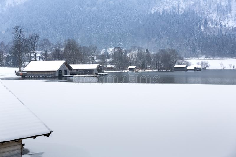 Lake Schliersee in Bavaria, Germany, in winter stock image