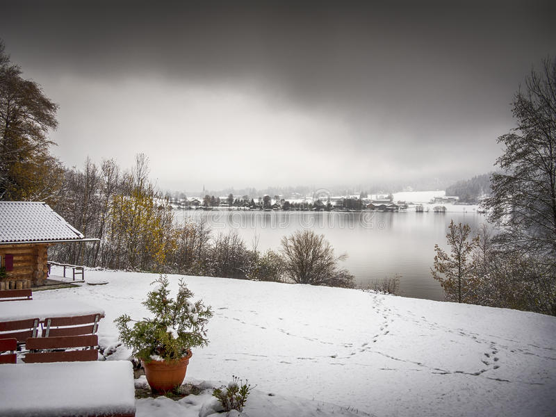 Lake Schliersee in winter royalty free stock photos