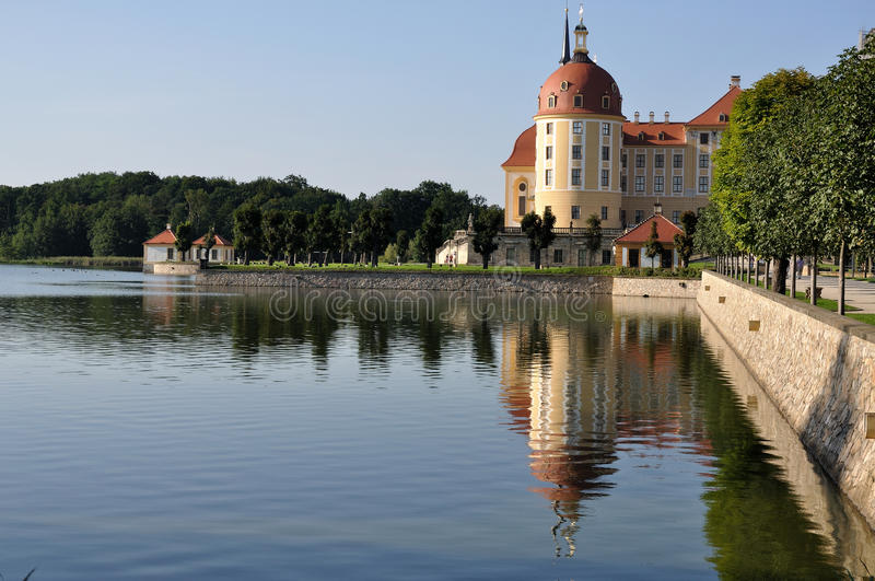 Lake schloss moritzburg, dresden. View from south of the lake and the famous baroque castle in the surrounding of dresden royalty free stock photography
