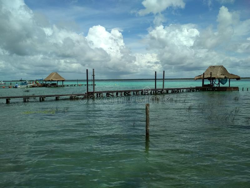 The lake of seven colours - Bacalar, Mexico royalty free stock photo