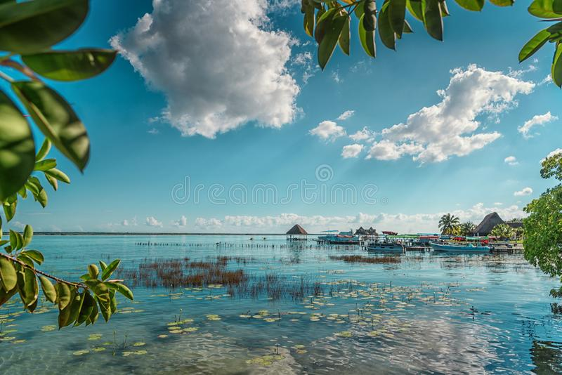 The lake is seven shades of blue. In Bacalar stock photography