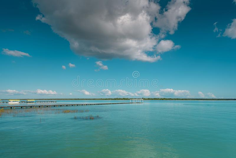 The lake is seven shades of blue. In Bacalar stock image