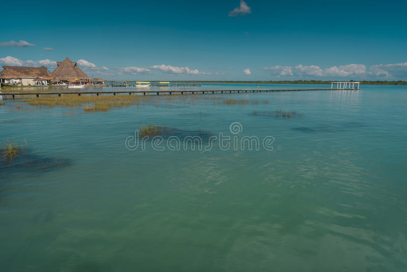 The lake is seven shades of blue. In Bacalar stock images