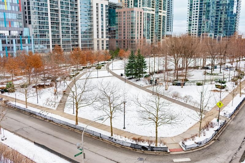 Lake Shore East Park in Chicago during Winter with Snow stock image