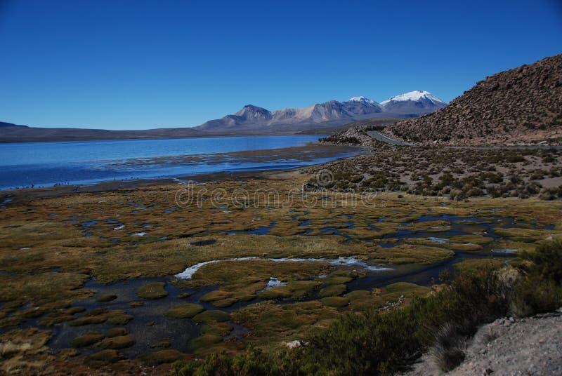 Lake shore and mountain ridge stock photography