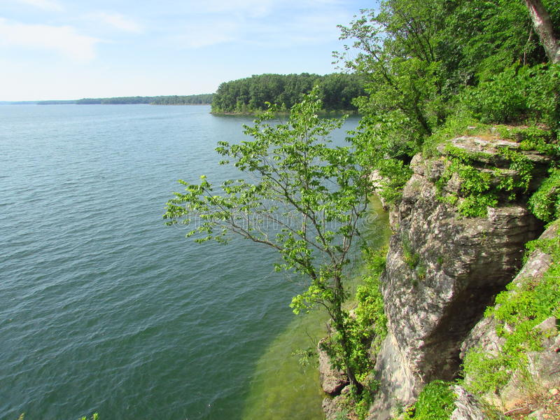 Lake side cliff in Missouri. Stockton State Park Missouri Lake side cliff beautiful view peaceful stock image