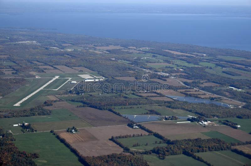 Lake Simcoe Regional Airport, aerial. Aerial view of Lake Simcoe Regional Airport located north of Barrie, Ontario, Canada stock images