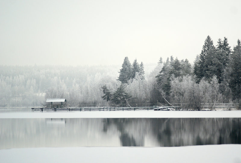 Lake in a snow royalty free stock image