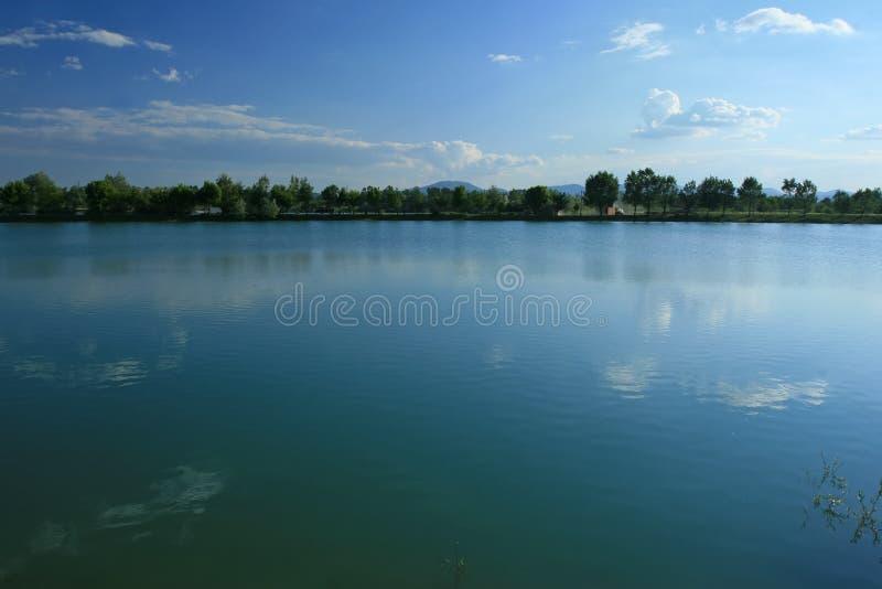 Lake at springtime stock photo