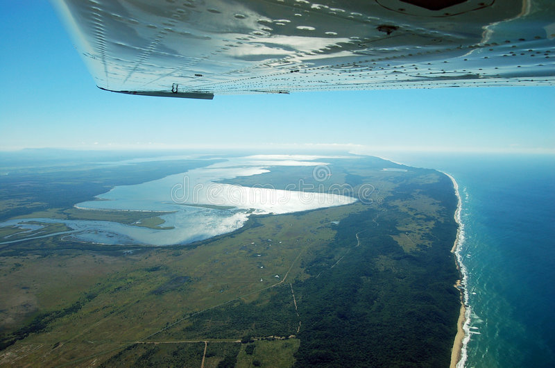 Lake St Lucia Estuary from the air. Image of Lake St Lucia Estuary from the air, the lake is situated in St Lucia South Africa and is a world heritage site and stock images