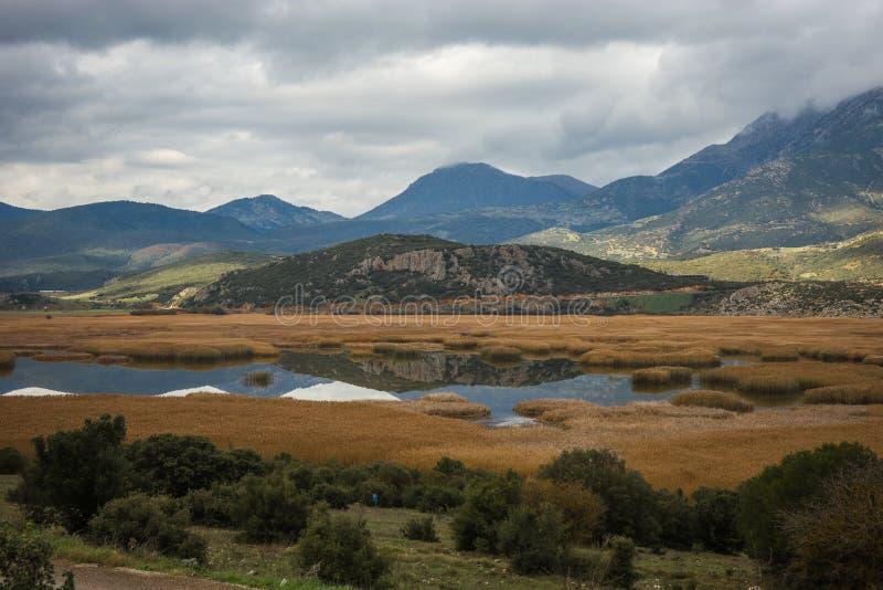 Lake Stimfalia in autumn in Peloponnese, Greece. Image of lake Stimfalia in autumn in Peloponnese, Greece stock image