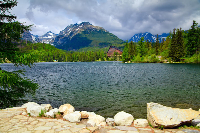 Download Lake Strbske Pleso stock photo. Image of resort, summer - 25356450