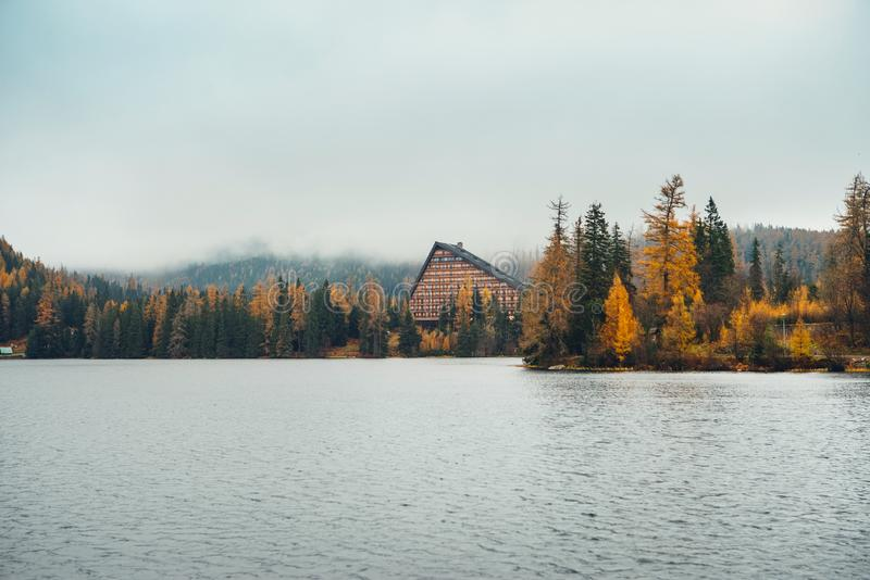 Lake Strbske Pleso in High Tatra Mountain, Slovakia royalty free stock photography