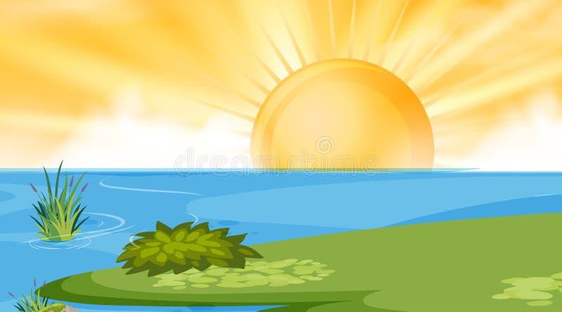 Lake sun background scene royalty free illustration