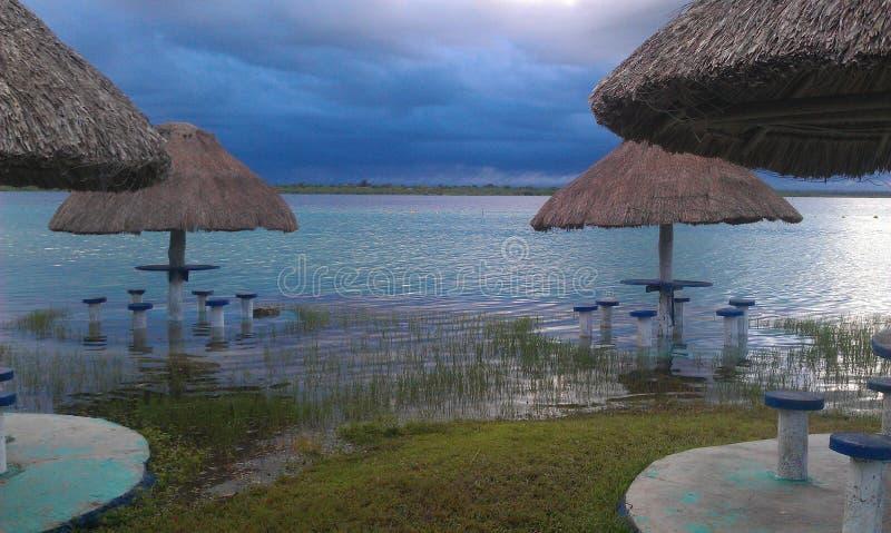 Lake in the sunrise stock image