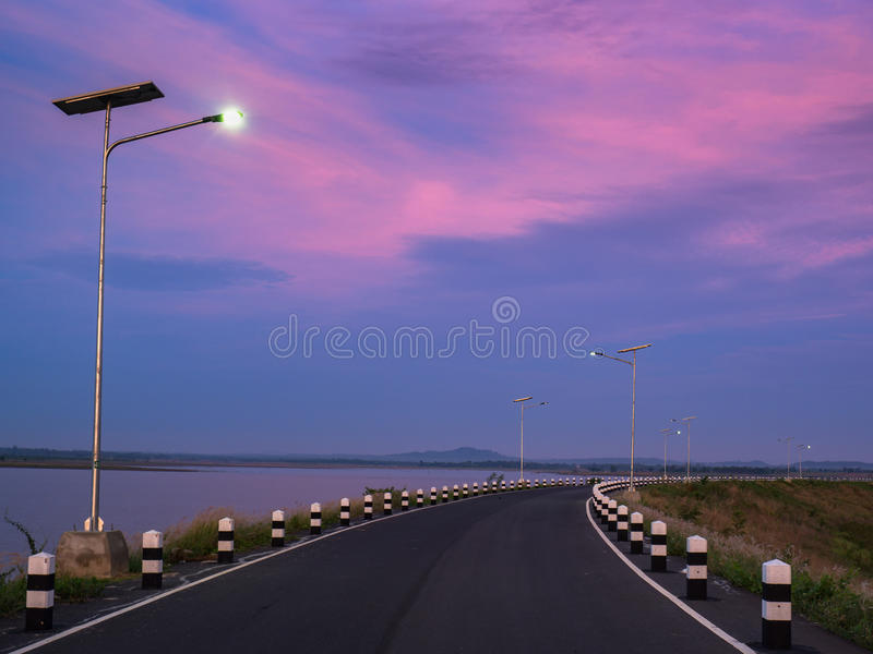 Lake sunrise and Beautiful view. Lake sunrise and Beautiful road view stock image