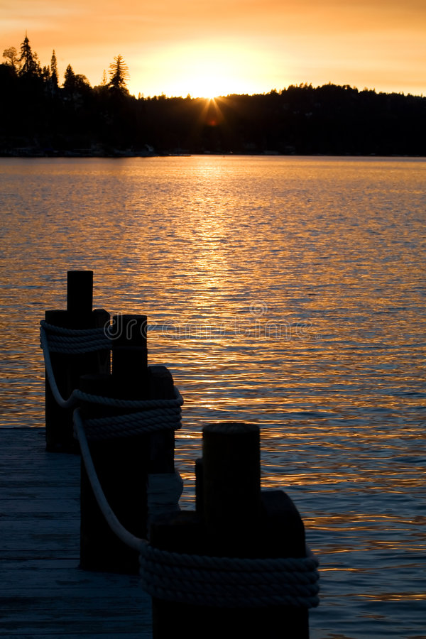 Download Lake Sunset 2 stock image. Image of dock, reflection, silhouette - 1585389