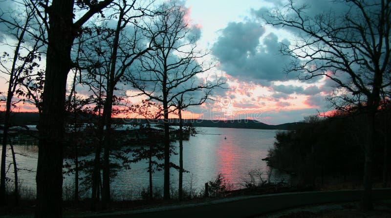 Lake sunset 2 stock photos
