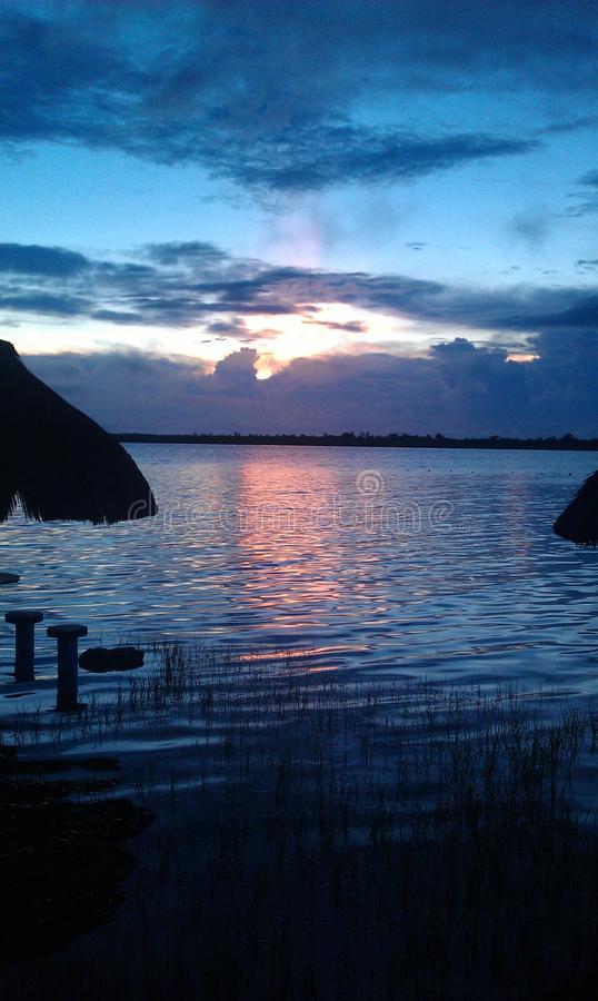 Lake in the sunset. Bacalar in Mexico, the lake is amazing royalty free stock photos