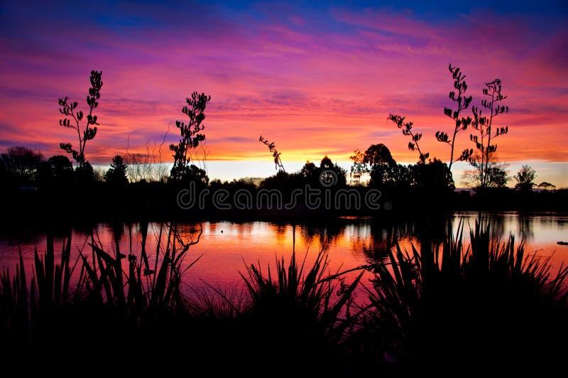 Download Lake Sunset III stock photo. Image of senic, fire, zealand - 26010298