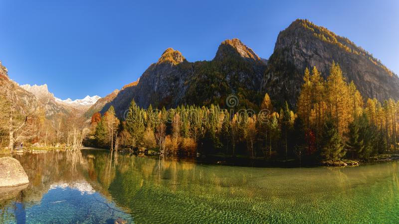 Lake at sunset in the mountains royalty free stock image