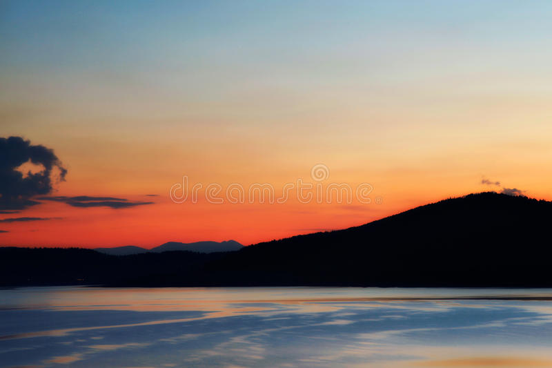 Download Lake at sunset stock photo. Image of clean, picturesque - 32300614